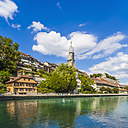 Switzerland, Bern, cityscape with minster and River Aare - WDF002736