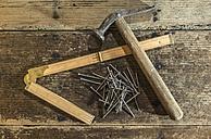 Vintage hammer, nails and wooden pocket rule on wood - DEGF000012