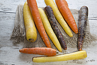 Different organic carrots on wood - SARF001126