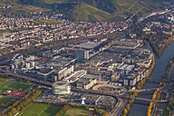 Germany, Baden-Wuerttemberg, Stuttgart, aerial view of Mercedes-Benz headquarters - WDF002770