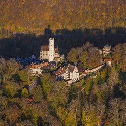 Germany, Baden-Wuerttemberg, aerial view of Lichtenstein Castle - WD002799