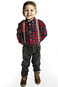 Little boy wearing suspenders pouting mouth - GDF000637