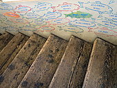 USA, Washington, Seattle, Pike Place Market, wooden stairs and wall with fish paintings - HL000808