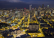 USA, Washington, Seattle, Skyline as seen from Space Needle at night - HLF000811