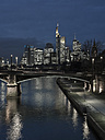Germany, Frankfurt, River Main with Ignatz Bubis Bridge, skyline of finanial district in background - AMF003413