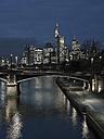 Germany, Frankfurt, River Main with Ignatz Bubis Bridge, skyline of finanial district in background - AMF003413