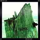Indonesia; Bali; Gili Air; Tree trunk with word Think and smiley - MMO000415