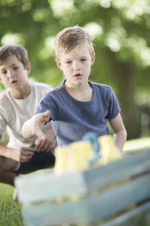 Boys in garden playing quoits - ZEF002834