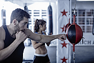 Man and woman exercising with punchingballs - ZEF002636