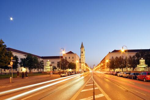Germany, Bavaria, Munich, Ludwig Maximilian University and church at blue hour - BRF000879