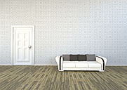 Livingroom with patterned wallpaper, couch and white door, 3D Rendering - ALF000264