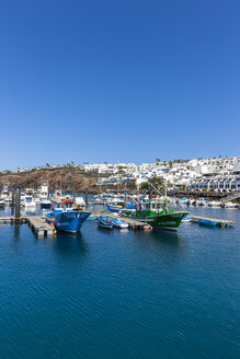 Spain, Canary Islands, Lanzarote, fishing harbor and coastal village Puerto Del Carmen - AMF003432