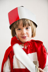 Portrait of little girl masquerade as a knight - LVF002462