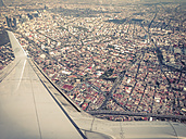 View from commercial airplane approaching MEX Mexico City airport - ABA001591
