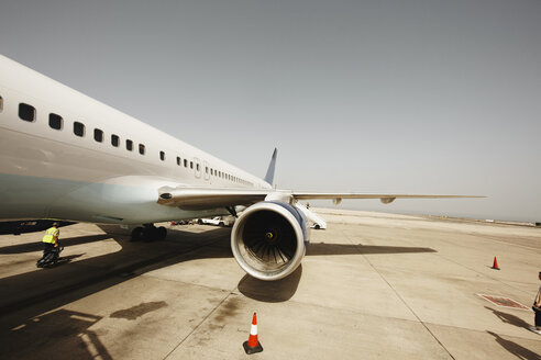 Spain, Canary Islands, Fuerteventura, parking jet at the airport - STK001100