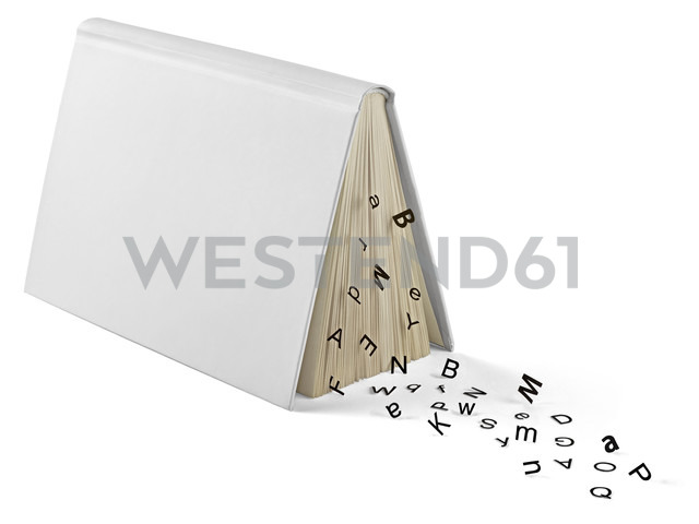 Book and letters in front of white background - RAMF000004