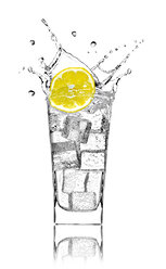 Glass with soda water, ice cubes and slice of lemon in front of white background - RAMF000013