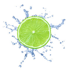 Slice of lime with water splash in front of white background - RAMF000019