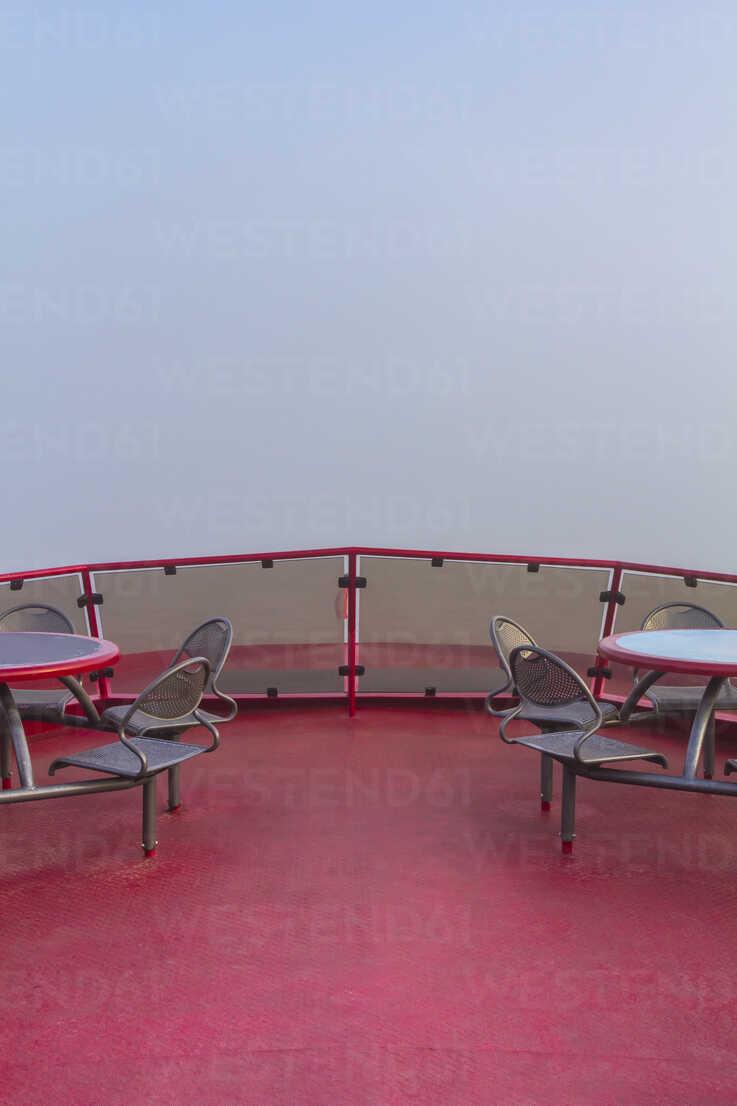 Germany, Hamburg, upper deck of a harbor ferry in dense fog - NKF000221 - Stefan Kunert/Westend61