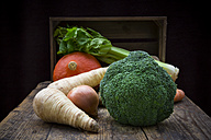 Assortment of vegetables on wooden table - LVF002496