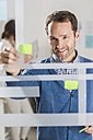 Businessman with adhesive notes at glass pane - UUF002959
