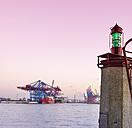 Germany, Hamburg, harbor, navigation light - RJF000367