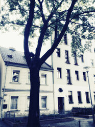 Germany, Berlin, tree in front of houses, living area - MS004417
