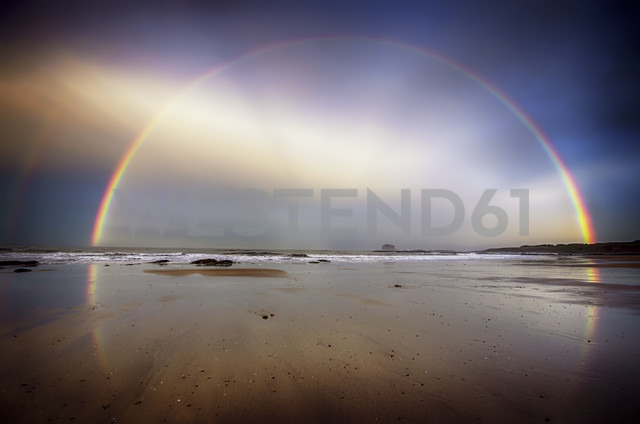 UK, Scotland, East Lothian, North Berwick beach, rainbow - SMAF000283
