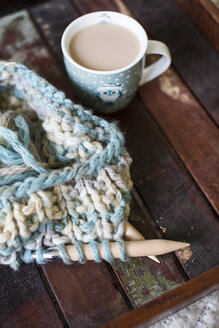 Knitting and a cup of coffee on wood - ASCF000019
