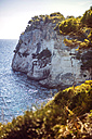 Spain, Balearic Islands, Menorca, Cala Galdana, Cliff and sea - EHF000008