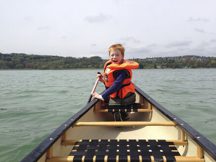 Germany, Boy in canoe on Lake Constance - JEDF000233