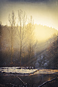 Germany, sunbeams over Wupper River at winter in the morning - DWIF000409