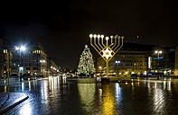 Germany, Berlin, giant Hanukkah menorah near Brandenburg Gate at night - BIGF000041