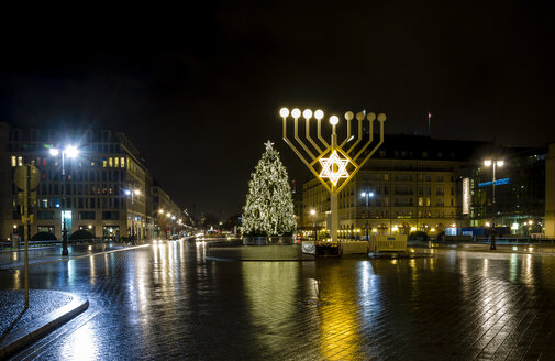 Germany, Berlin, giant Hanukkah menorah near Brandenburg Gate at night - BIGF000041