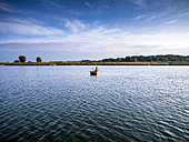 Germany, Mecklenburg-Western Pomerania, Freest, fishing boat on lake - BIG000039