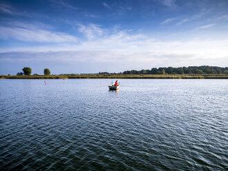 Germany, Mecklenburg-Western Pomerania, Freest, fishing boat on lake - BIG000039