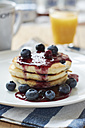 Lemon blueberry pancakes with blueberry syrup - HAWF000544