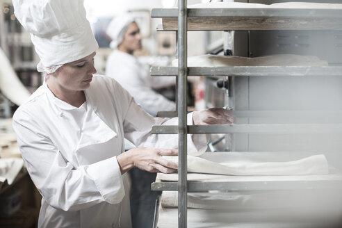 Female baker placing baking trays in oven trolleys - ZEF003797