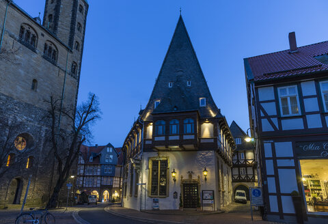 Germany, Goslar, hotel Brusttuch at night - PVCF000254