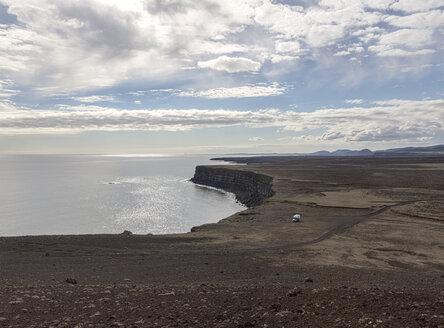 Iceland, Haelsvik, camper parking at landscape - ATAF000063
