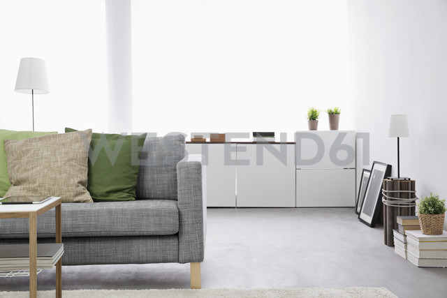 Modern living room with couch and sideboard - PDF000669