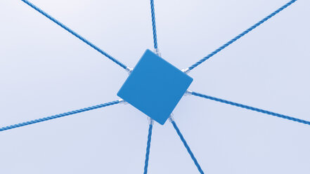3D rendering of blue cube attached to ropes - UWF000309