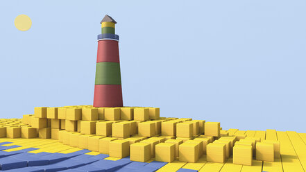 3D rendering of lighthouse by the sea made of building bricks - UWF000324
