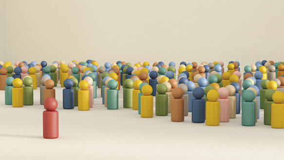 3D rendering of game pieces with one standing out from the crowd - UWF000330