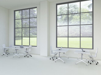 3D rendering of modern office with windows - UWF000334