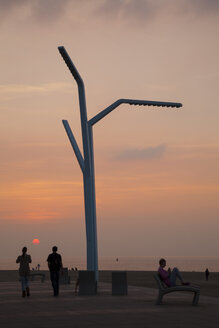 Netherlands, The Hague, Scheveningen, Beach promenade at sunset - WI001208