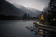 Germany, Bavaria, Ramsau, Hintersee at dusk - MJ001463