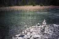 Germany, Bavaria, Ramsau, cairn at Hintersee - MJF001445