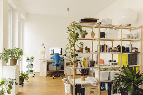 Home office with shelf and plants in modern building - MFF001371