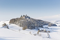 Germany, Constance district, view to castle ruin Maegdeberg in winter - ELF001456
